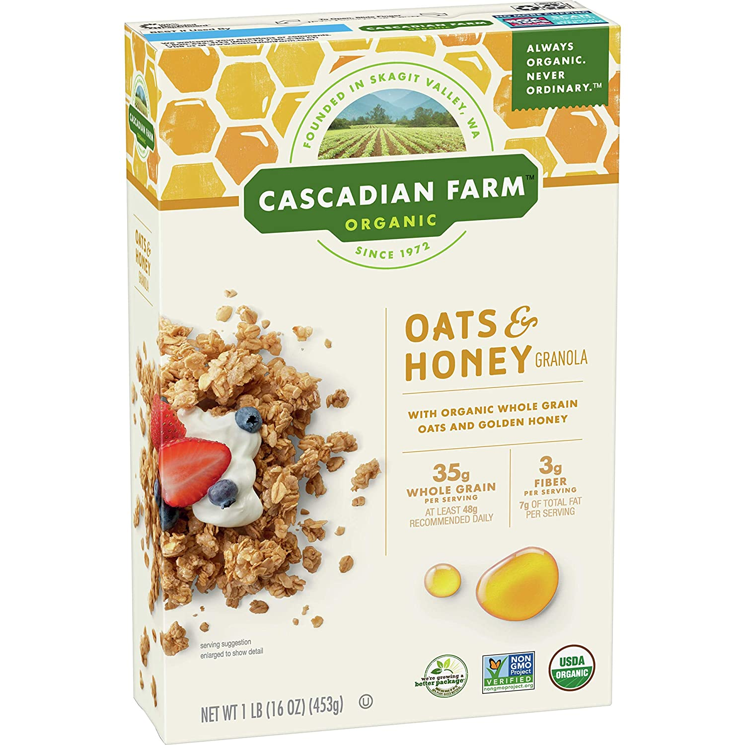 Cascadian Farm Organic Granola Oats and Honey Cereal, 16 oz (Pack of 6)