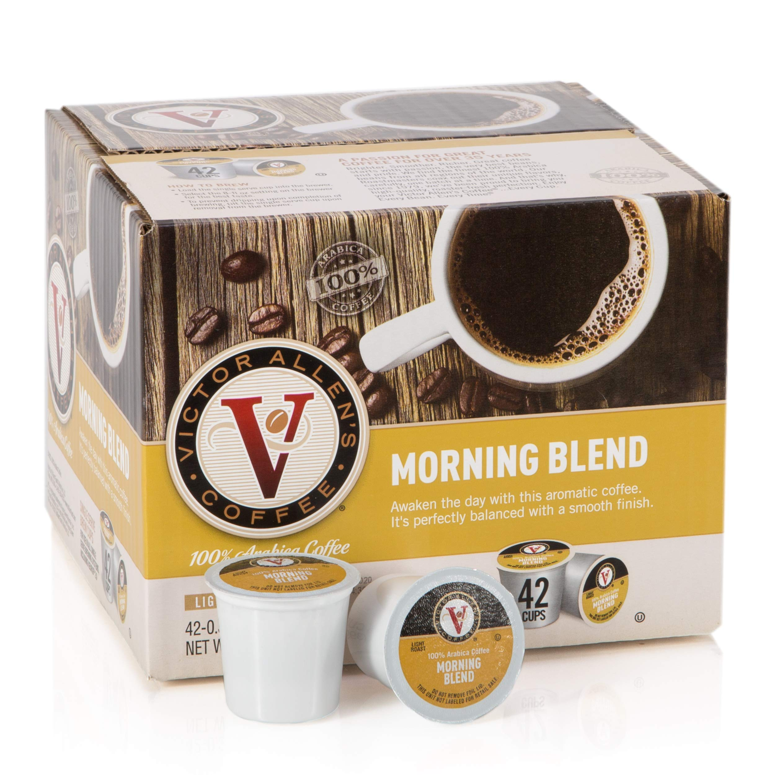 Victor Allens Coffee K Cups, Morning Blend Single Light Roast Coffee, 42 Count,