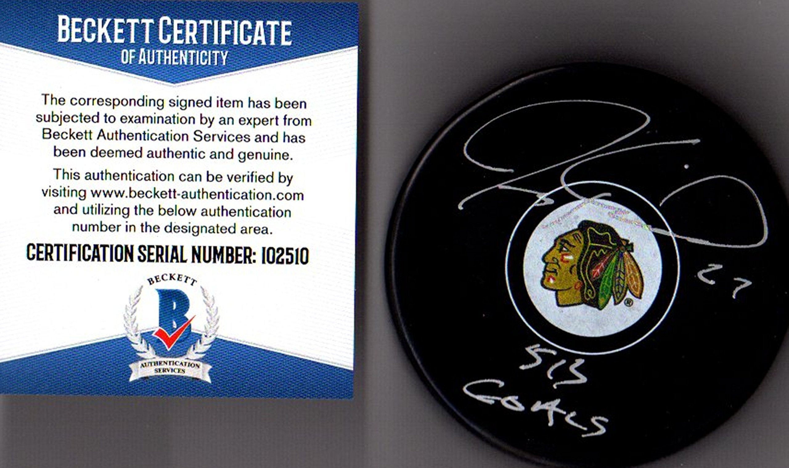 "BAS Beckett Jeremy Roenick ""513 Goals"" Autographed Signed Chicago Blackhawks Licensed Puck"