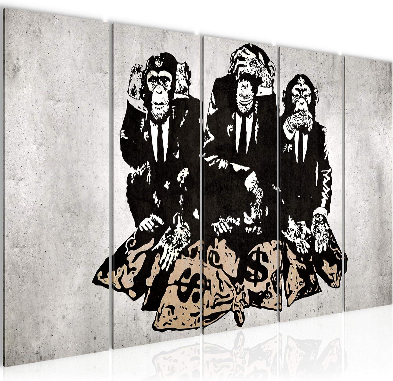 Cuadro en Lienzo/Banksy Street Art Cebra 150 x 60 cm /012956c Listo para colgar XXL Impresi/ón Material Tejido no Tejido Art/ística Imagen Gr/áfica Decoracion de Pared /5 piezas