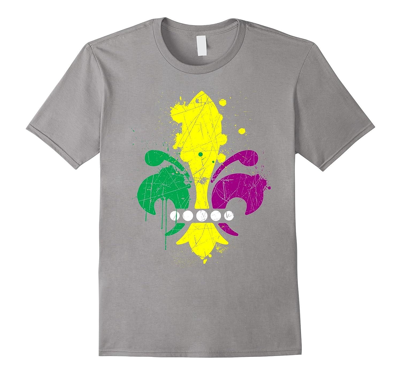 Mardi Gras Fleur De Lis 2017 New Orleans Distressed T-Shirt-TD