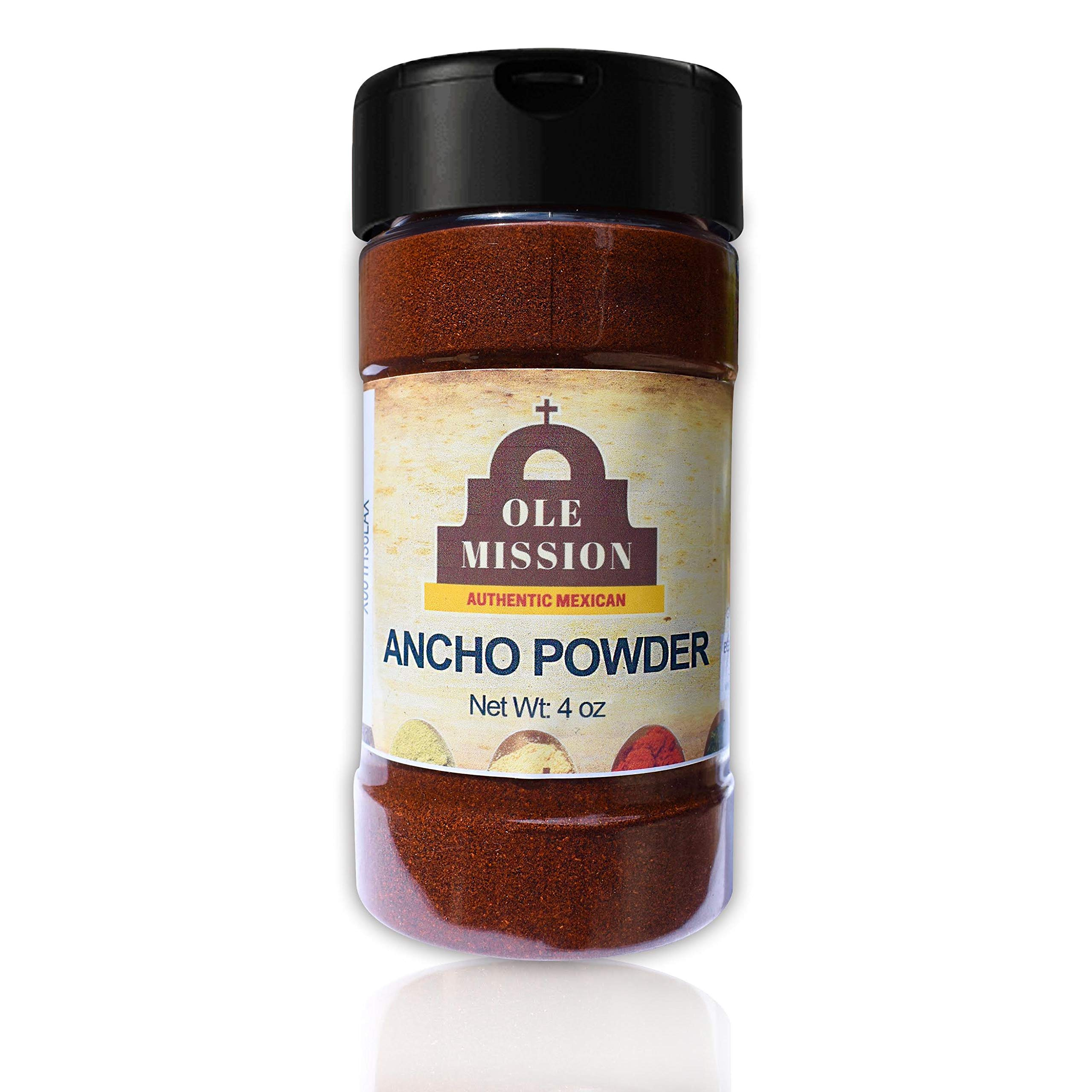 Ancho Chile Powder 4 oz Ounce Ground Chili Natural Seasoning Great for Mexican Recipes by Ole Mission
