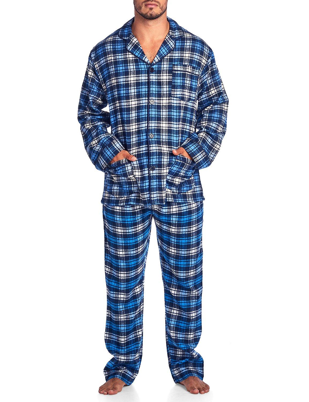 Ashford & Brooks Mens Flannel Plaid Pajamas Long PJ Set - Ivory Navy Blue - XX-Large