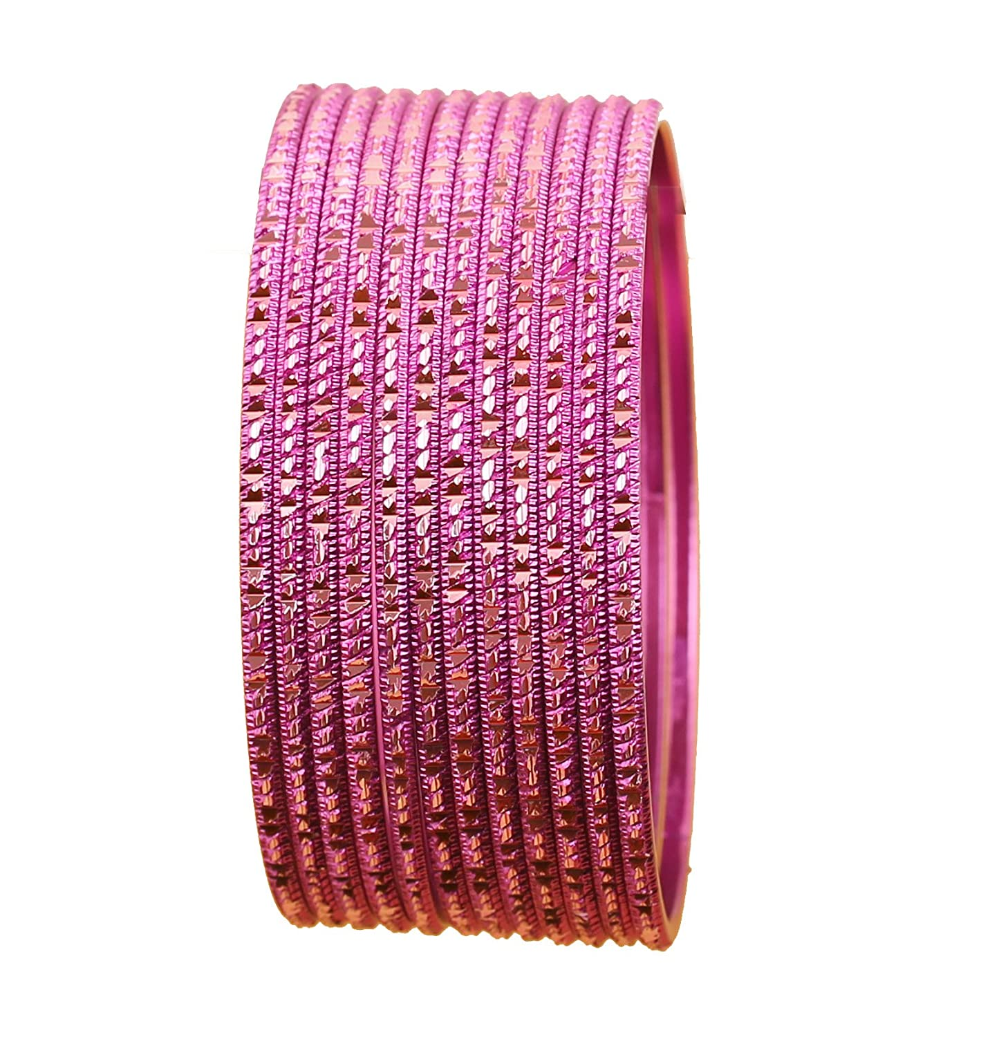 Set of 12. Touchstone Colorful Dozen Bangle Collection Traditional Charming Look Textured Sweet Sound Thin Indian Bollywood Designer Jewelry Metal Bangle Bracelets for Women