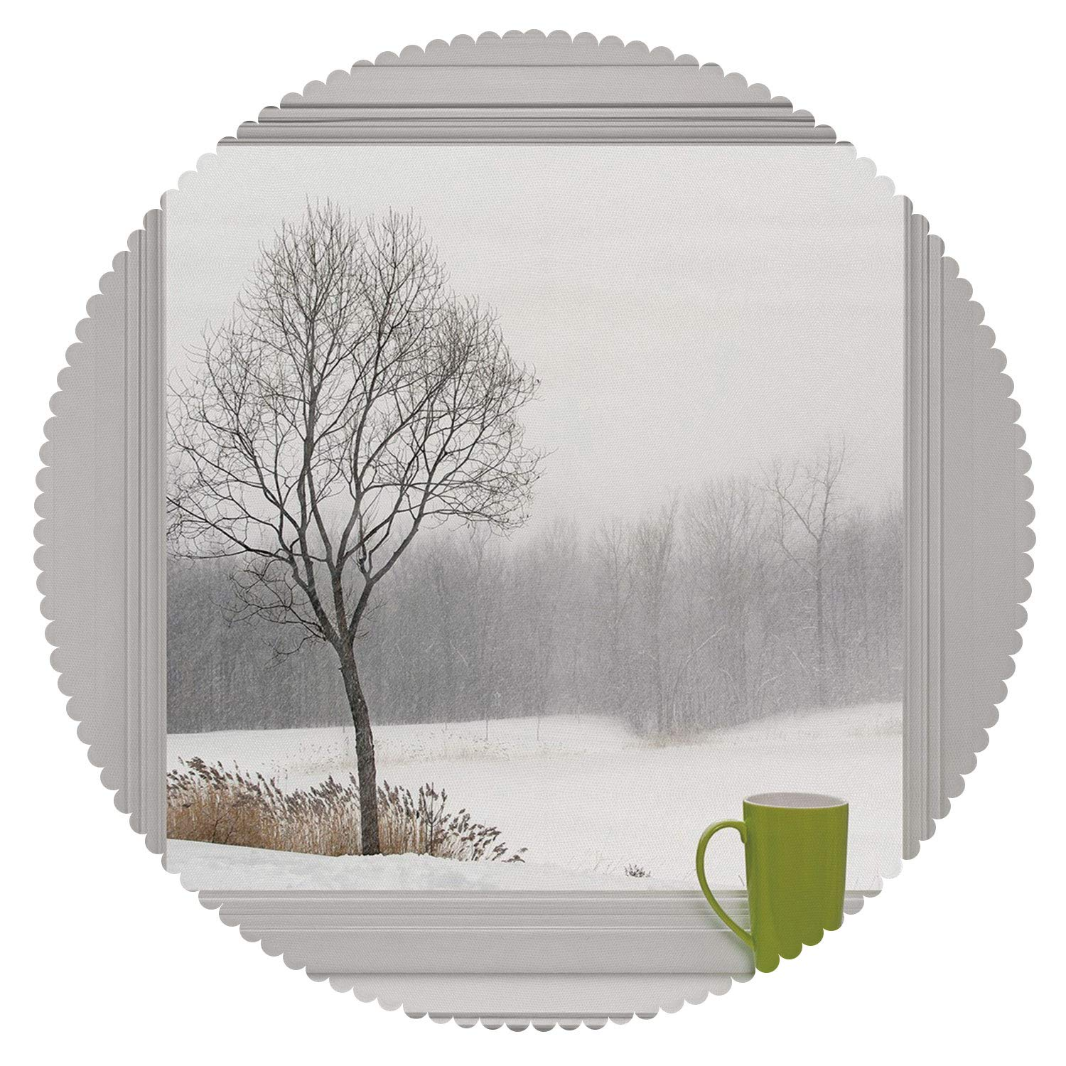 iPrint Mildewproof Round Tablecloth [ Winter,Green Teacup on a Windowsill Forest Outdoors February Snowstorm Scenic Countryside Decorative ] Home Accessories