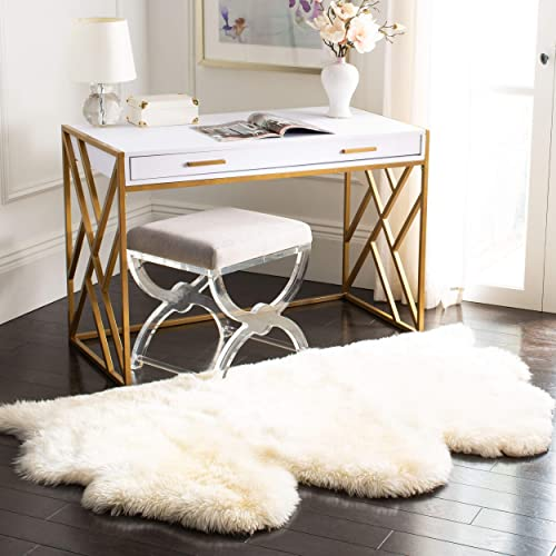 Safavieh Sheepskin Collection SHS121A Genuine Sheepskin Pelt White Premium Shag Rug 3 x 5