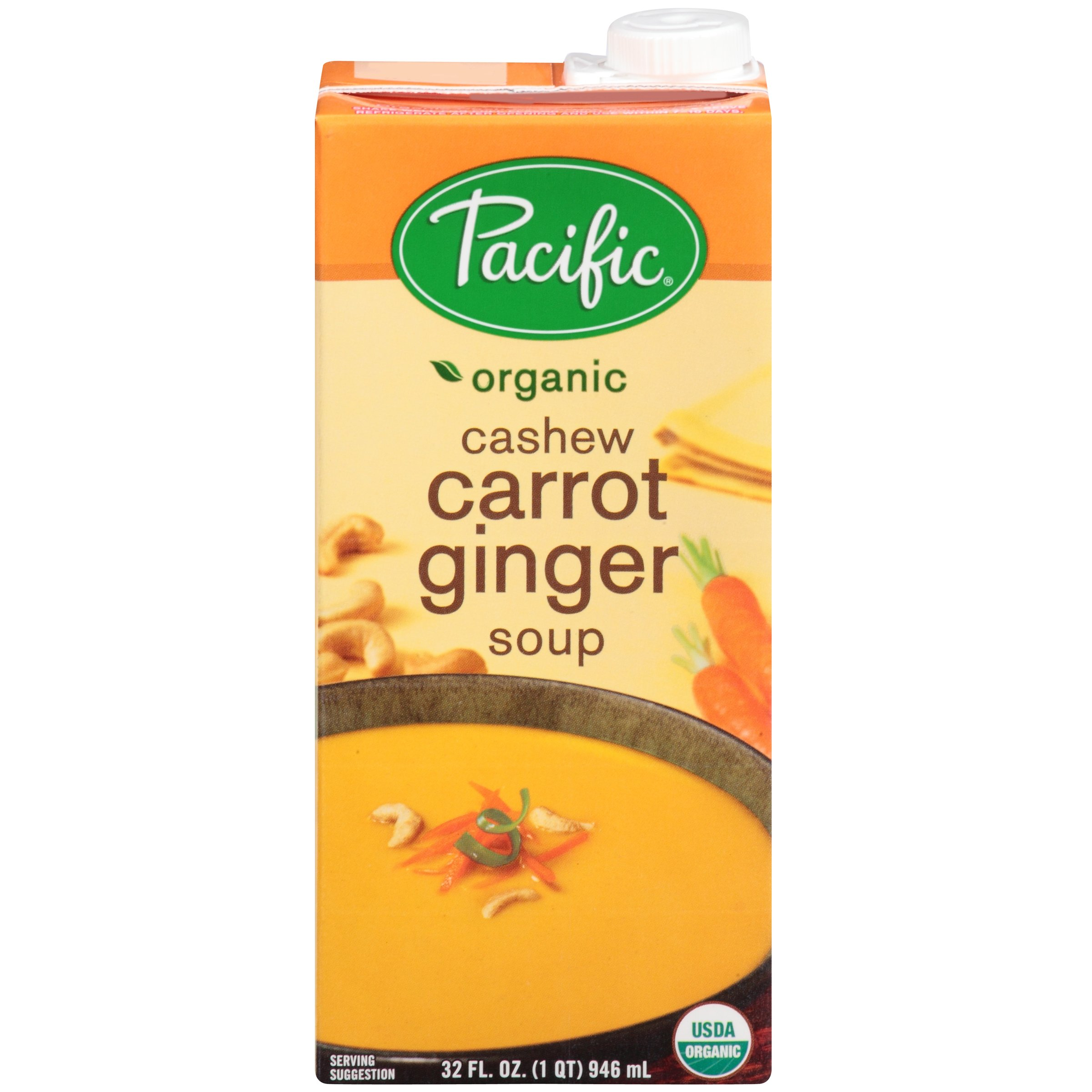 Pacific Foods Soup, Cashew Carrot Ginger, 32-Ounce Cartons (Pack of 12)