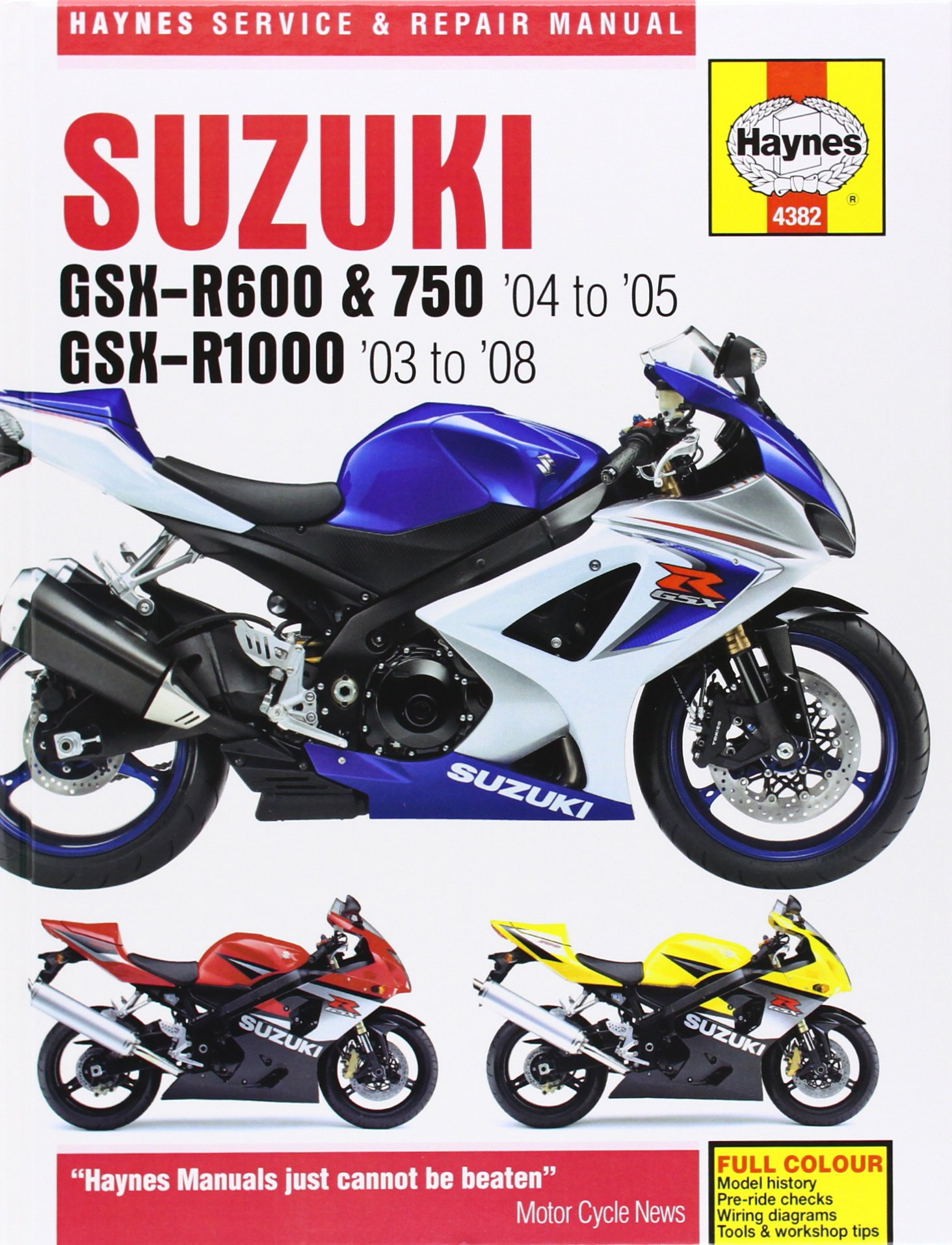 Suzuki GSX-R600 and 750 (04-05) GSX-R1000 (03-08) Service and Repair Manual  (Haynes Motorcycle Manuals): Matthew Coombs: 9781844258116: Amazon.com:  Books
