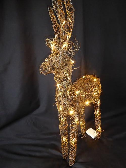 Large Light Up 90cm 3ft Pre Lit Rustic Brown Christmas Reindeer