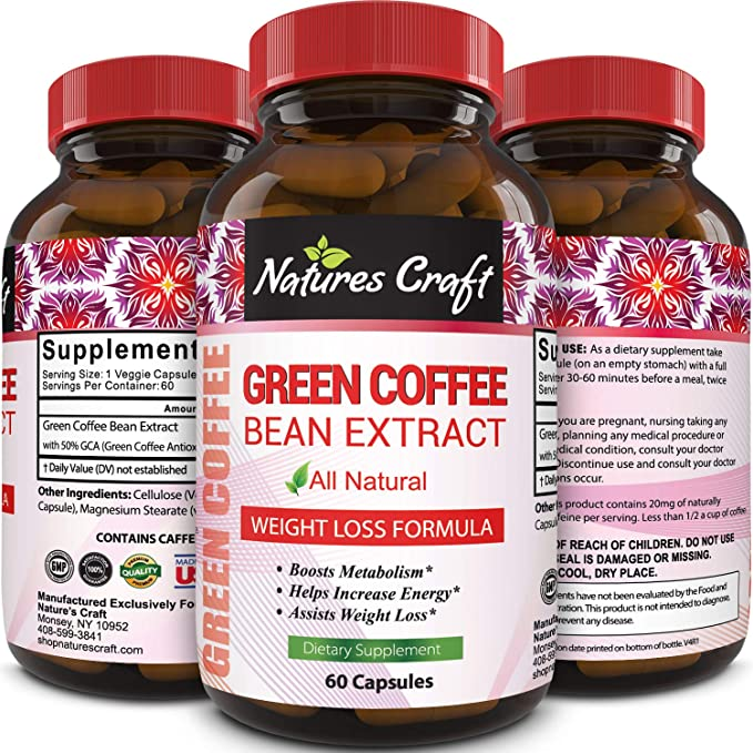 Amazon Com Pure Green Coffee Bean Extract Standardized To 50 Chlorogenic Acid Weight Loss Supplement For Men Women Burns Both Fat And Sugar High Grade Natural Ingredients Beauty