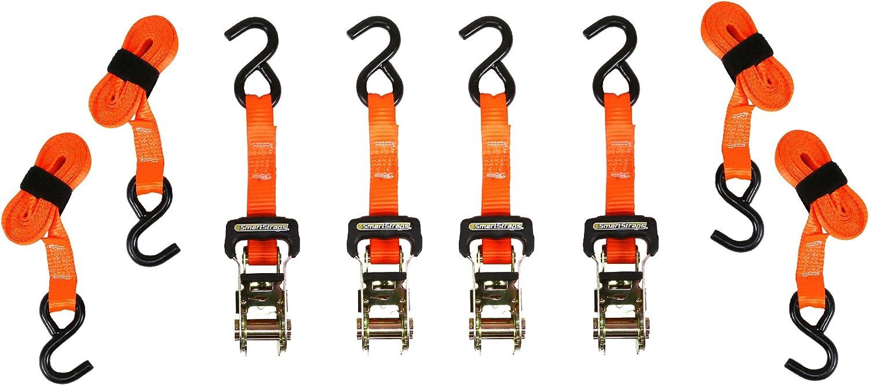 SmartStraps 149 Orange 10 3,000 lbs Capacity Padded Ratchet Tie Down, Pack of 4
