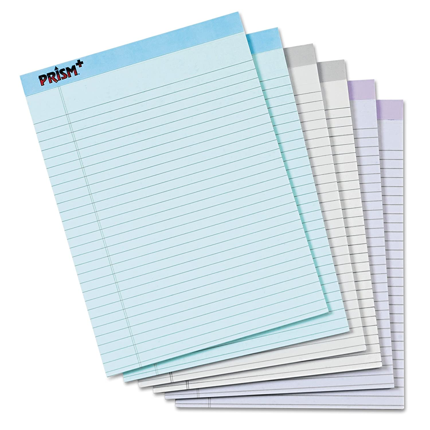 "TOPS Prism+ Writing Pads, 8-1/2"" x 11-3/4"", Assorted Colors 2 Each: Gray, Orchid, Blue, Legal Rule, 50 Sheets, Perforated Pages, 6 Pack (63116)"
