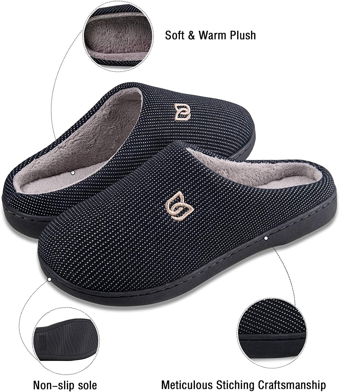 Ultra-l/éger et Antid/érapage Chauds Chaussons Maison pour Femme Homme Hiver Mousse M/émoire Peluche Pantoufles pour la Maison