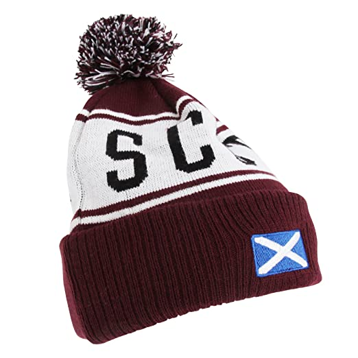62835f06b43 Devoted2style Adults Unisex Scotland Winter Hat (One Size) (Maroon ...