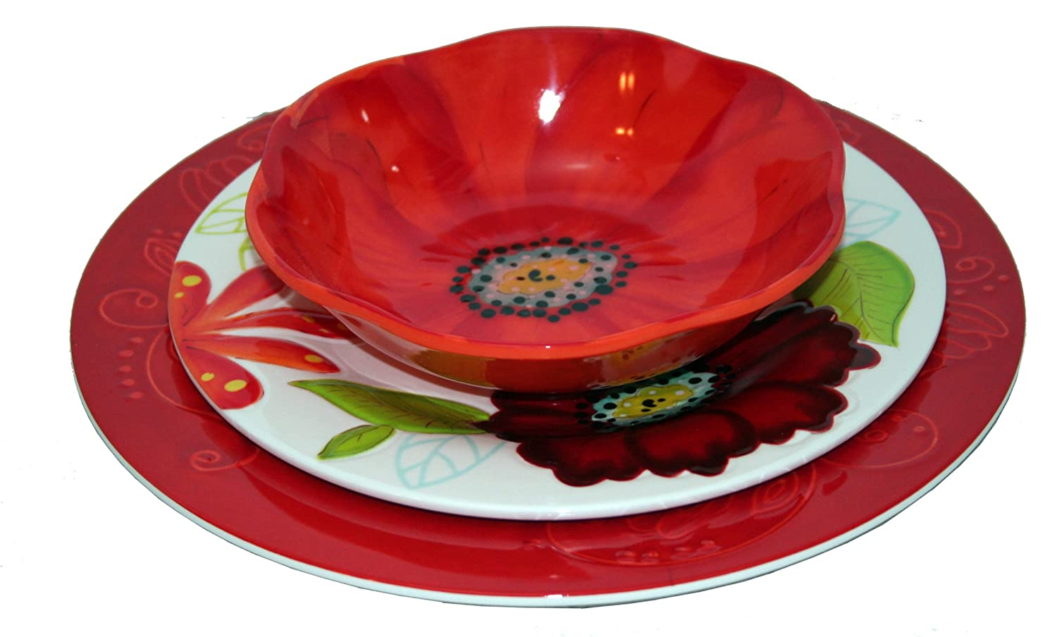Amazon.com | Laurie Gates ~ Flora 12PC Melamine Dinnerware Set Plastic Dishes Dinnerware Sets Dinnerware Sets  sc 1 st  Amazon.com : microwave melamine dinnerware - pezcame.com