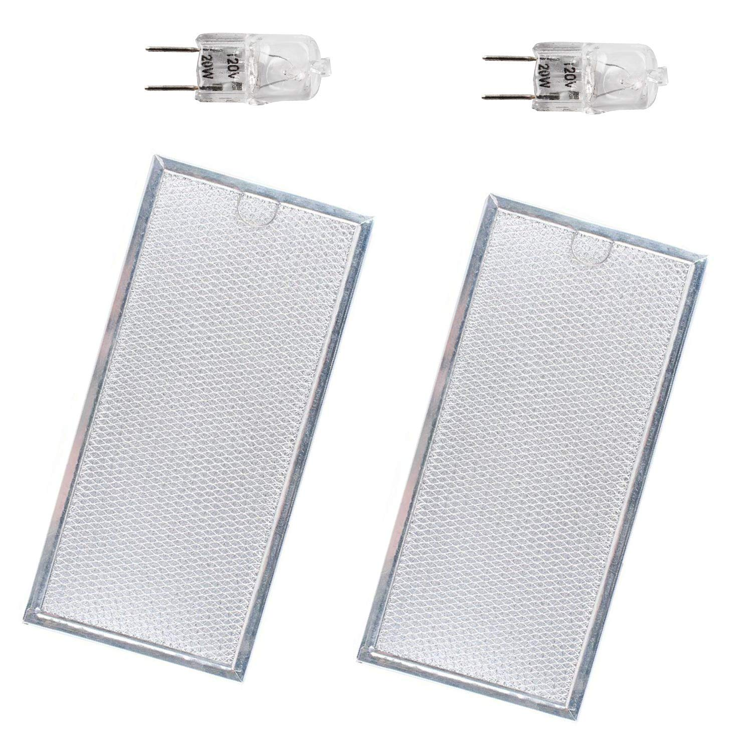 2 WB06X10596 Grease Filter with WB36X10213 Light Bulbs by Podoy Compatible with GE General Electric Hotpoint Microwave Range Hood Pack of 2