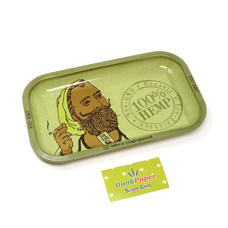 Zig-Zag Organic Hemp Rolling Tray Green with Dank Paper Scoop Card (Small) Zig-Zag & Dank Paper
