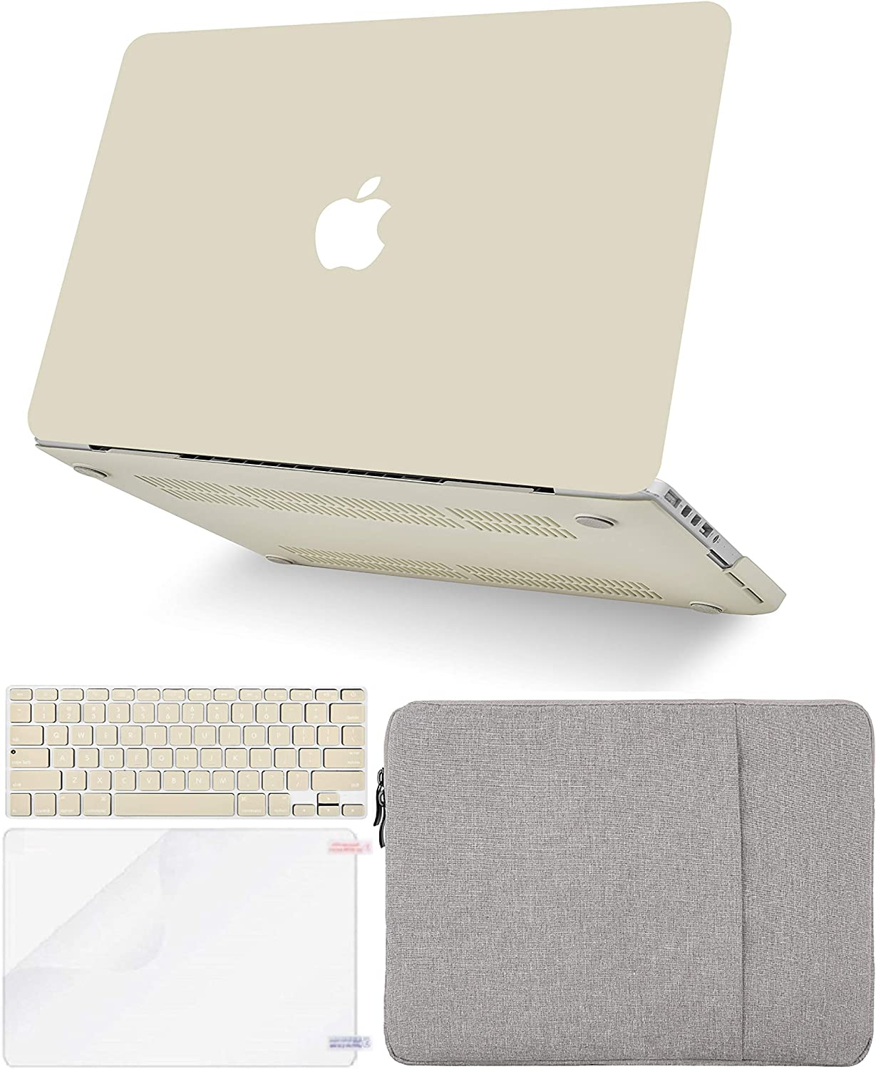 """KECC Laptop Case for MacBook Pro 13"""" (2020/2019/2018/2017/2016, Touch Bar) w/Keyboard Cover + Sleeve + Screen Protector (4 in 1 Bundle) Hard Shell A2159/A1989/A1706/A1708 (Cream)"""