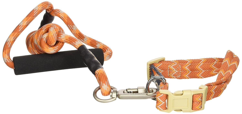 DOGHELIOS 'Dura-Tough' Easy Tension 3M Reflective Adjustable Multi-swivel Pet Dog Leash and Collar, Medium, orange
