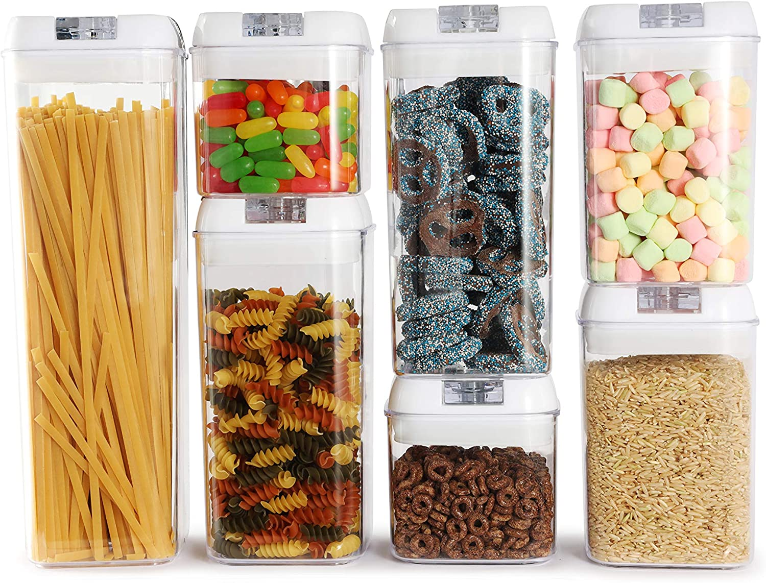 Airtight Food Storage Containers with Lids | 7 Plastic Kitchen Canisters for Pantry Organization and Storage | BPA Free Air Tight Container Dispenser With Labels, Markers and Measuring Spoons