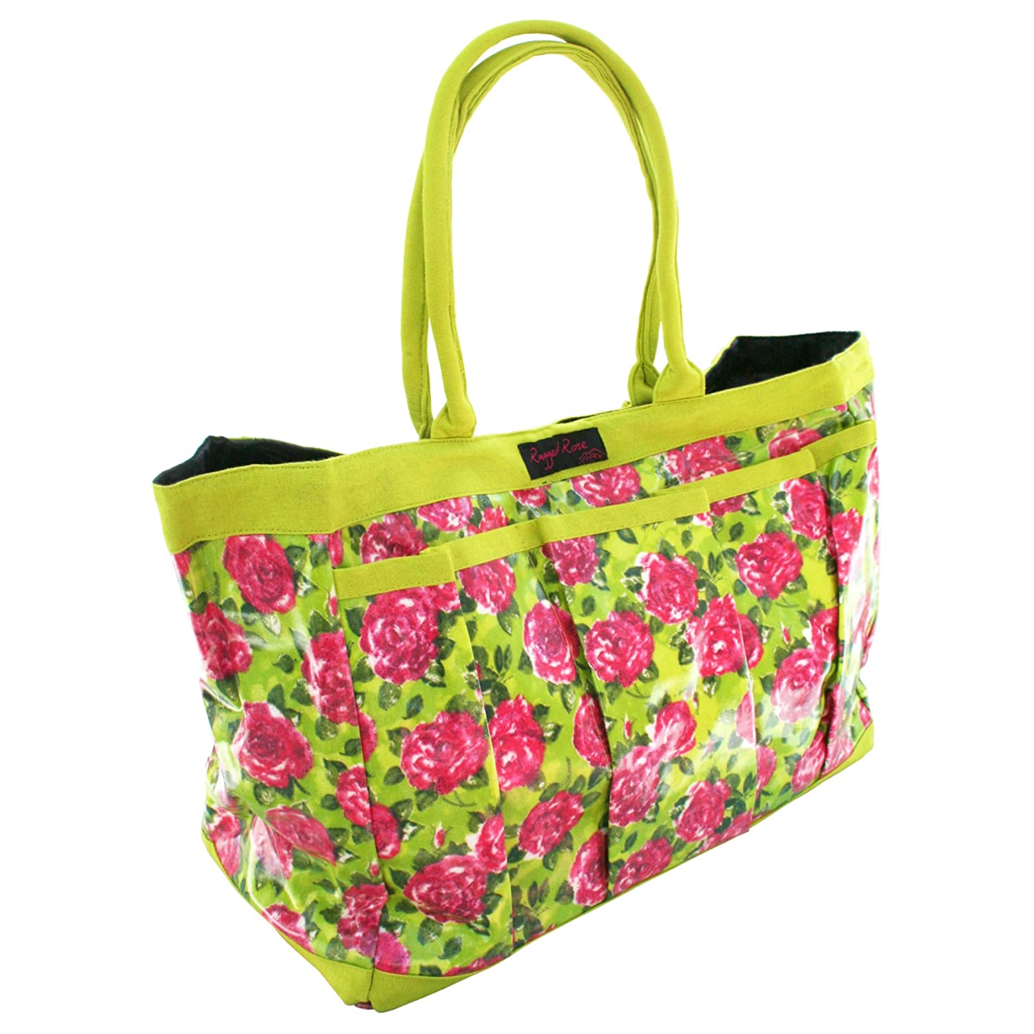 Ragged Rose PVC Ladies Garden Tool Bag with Lime and Pink Rose Print - Green