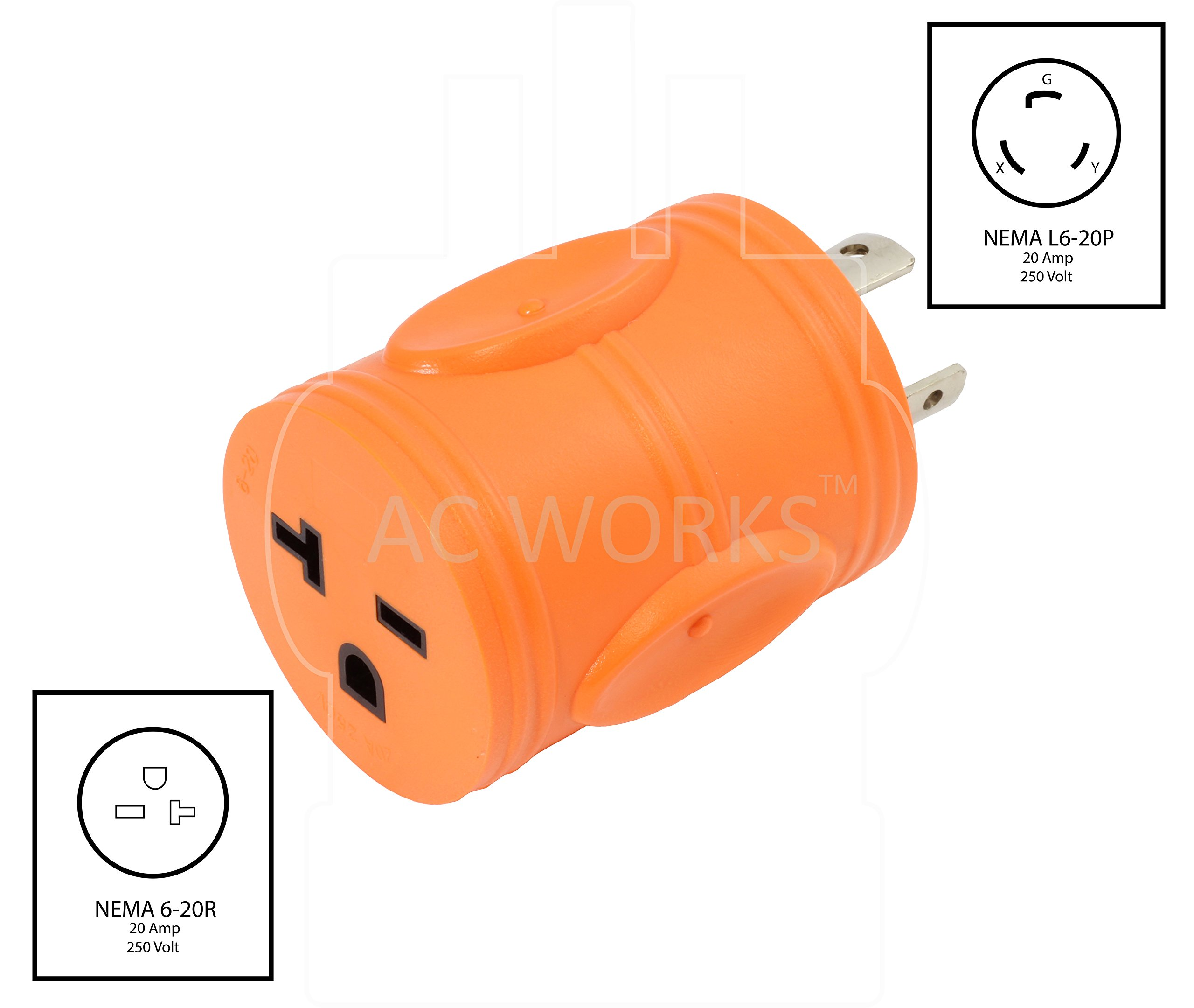 AC WORKS [ADL620620] NEMA L6-20P 20Amp 250Volt Locking Plug to NEMA 6-15/20R 15/20Amp 250Volt Female Connector Adapter by AC WORKS (Image #2)