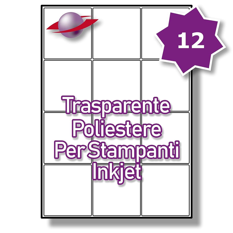 12 Par Foglio, 5 Fogli, 60 Etichette. Label Planet® Etichette Trasparenti di Poliestere A4 Lucide per la Stampa a Getto d'Inchiostro 63.5 x 72mm, LP12/63 GCP.