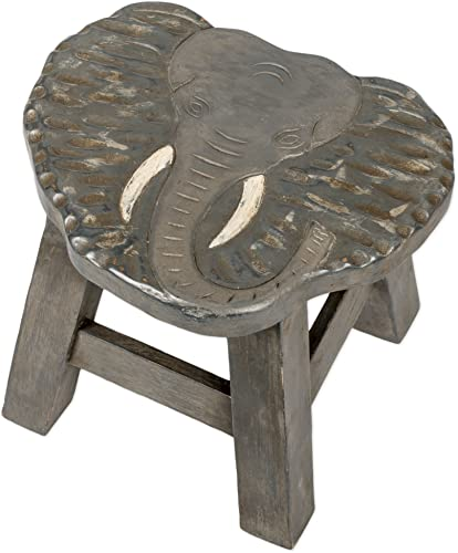 Elephant Design Hand Carved Acacia Hardwood Decorative Short Stool