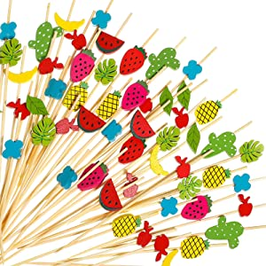 240 Pieces Tropical Bamboo Cocktail Picks Fruit Kabob Skewer Toothpicks Fancy Summer Sticks Cactus Pineapple Watermelon Leaf Toothpicks 10 styles for Appetizers Drinks Luau Hawaii Beach Party Supplies