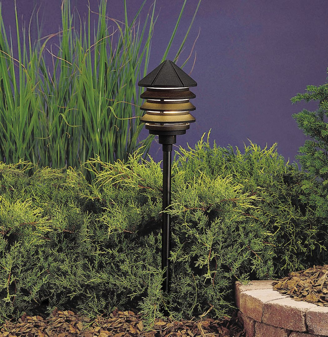 kichler lighting 15205azt three tier 1light 120volt path u0026 spread light textured bronze with molded ribbed diffuser of clear uv stabilizing - Kichler Landscape Lighting