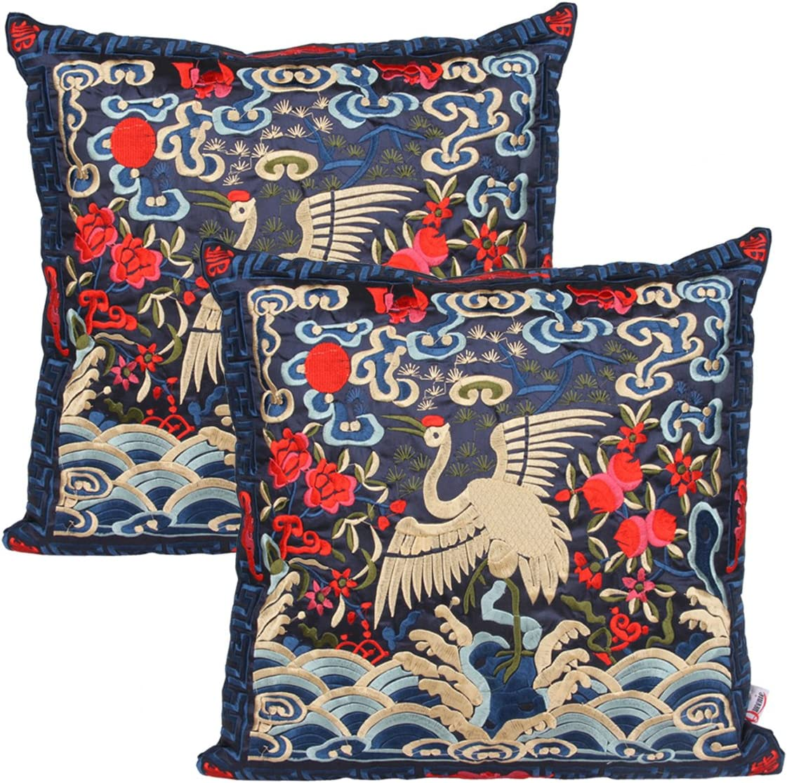 Queenie - 2 Pcs Silky Oriental Chinese Phoenix Embroidered Decorative Throw Pillow Case Cushion Cover 17.25 x 17.25 Inch 44 x 44 cm (CS94 Navy Blue)