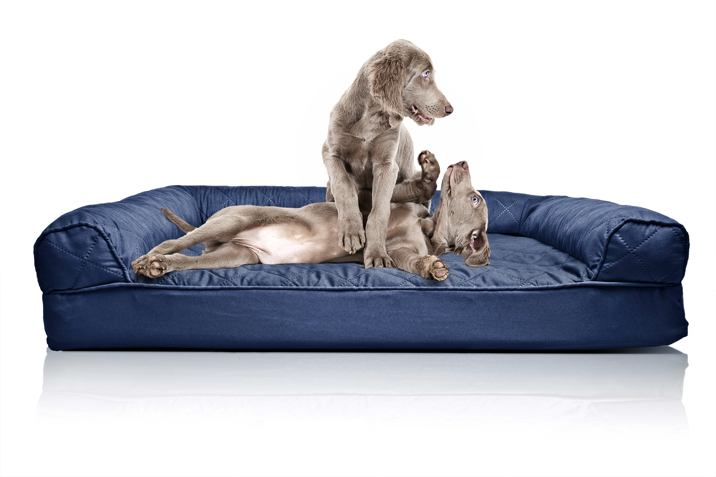Furhaven Pet Orthopedic Quilted Sofa-Style Couch Pet Bed for Dogs and Cats, Navy, Jumbo