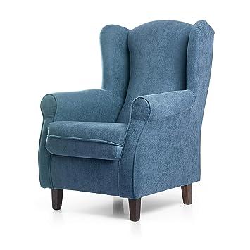 SUENOSZZZ - Sillon Relax, Sillon orejero para Lactancia Irene. Tapiceria Antimanchas acualine Color Azul. Butaca para Dormitorio, Salon o habitacion ...