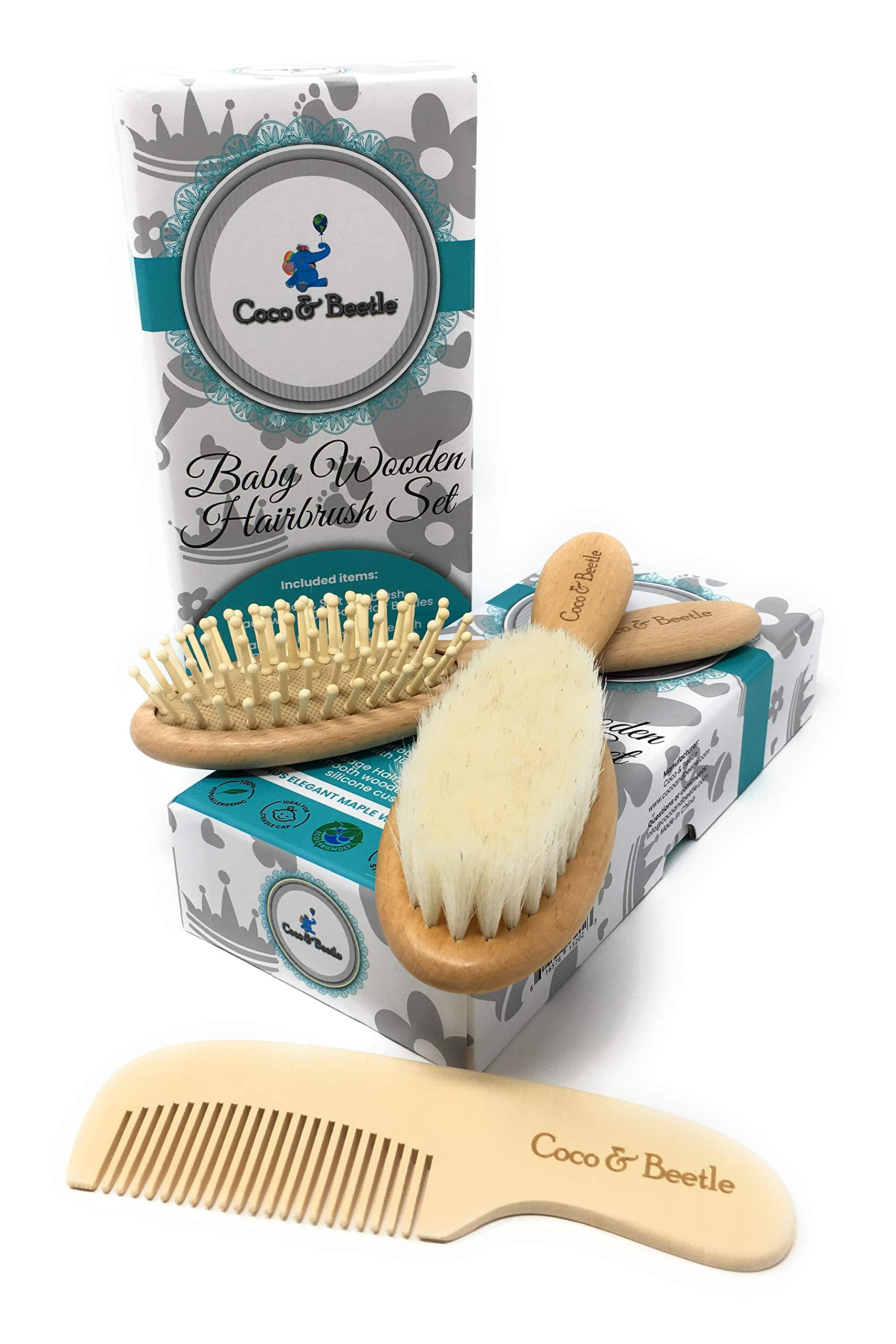 Coco & Beetle Baby Brush Set - Gift for Baby Girl or Boy Newborn to Over 1year - Wooden Brushes - Soft Goat Hairs - Massage Bristles on Silicone Base - Hair Detangler, Soothes Scalp, Helps Cradle Cap by Coco & Beetle
