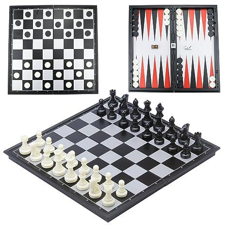 CRMICL Juego de ajedrez magnético de Viaje,Juego de ajedrez 3 en 1 Tablero de