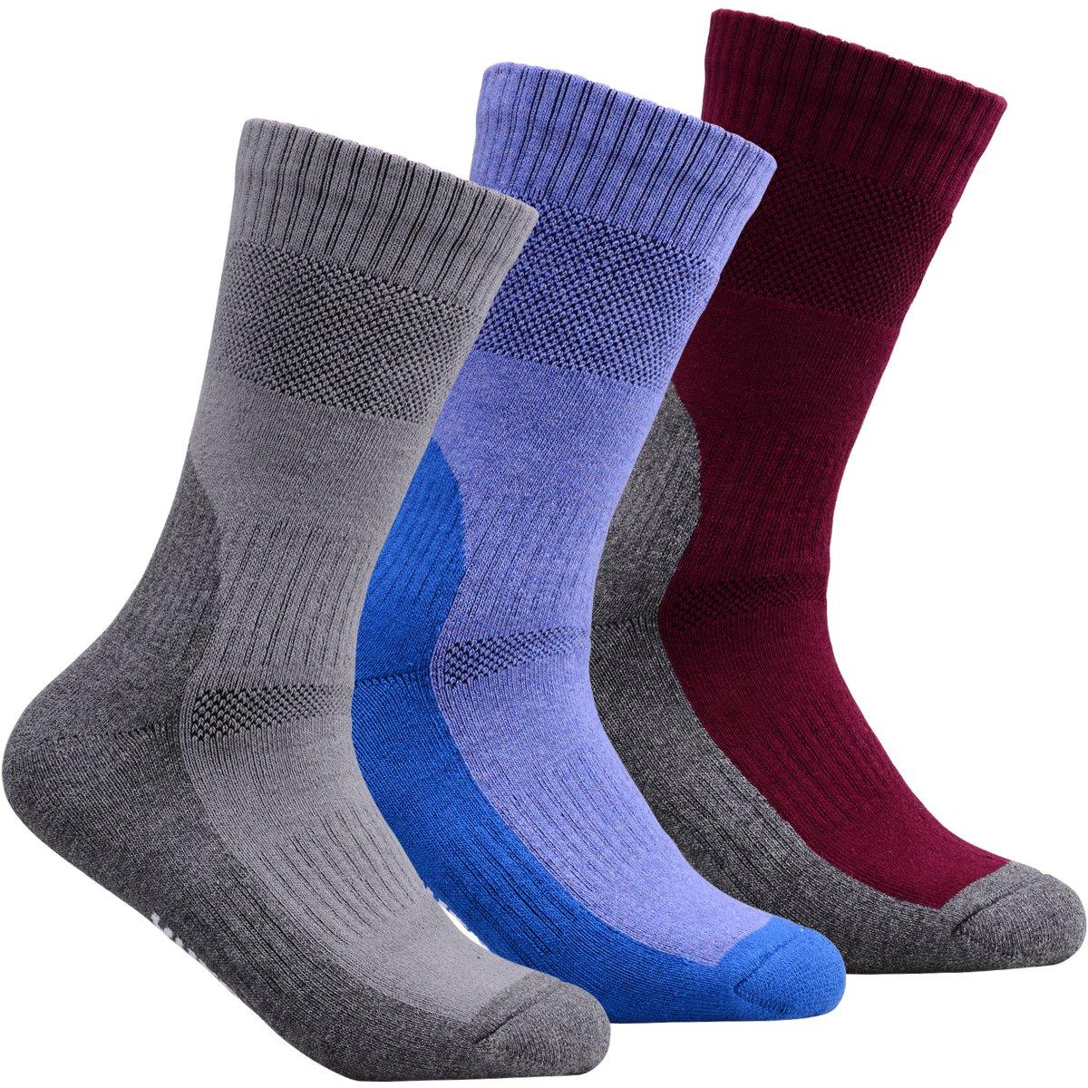 YUEDGE Performance Athletic Crew Socks (3 Pairs)