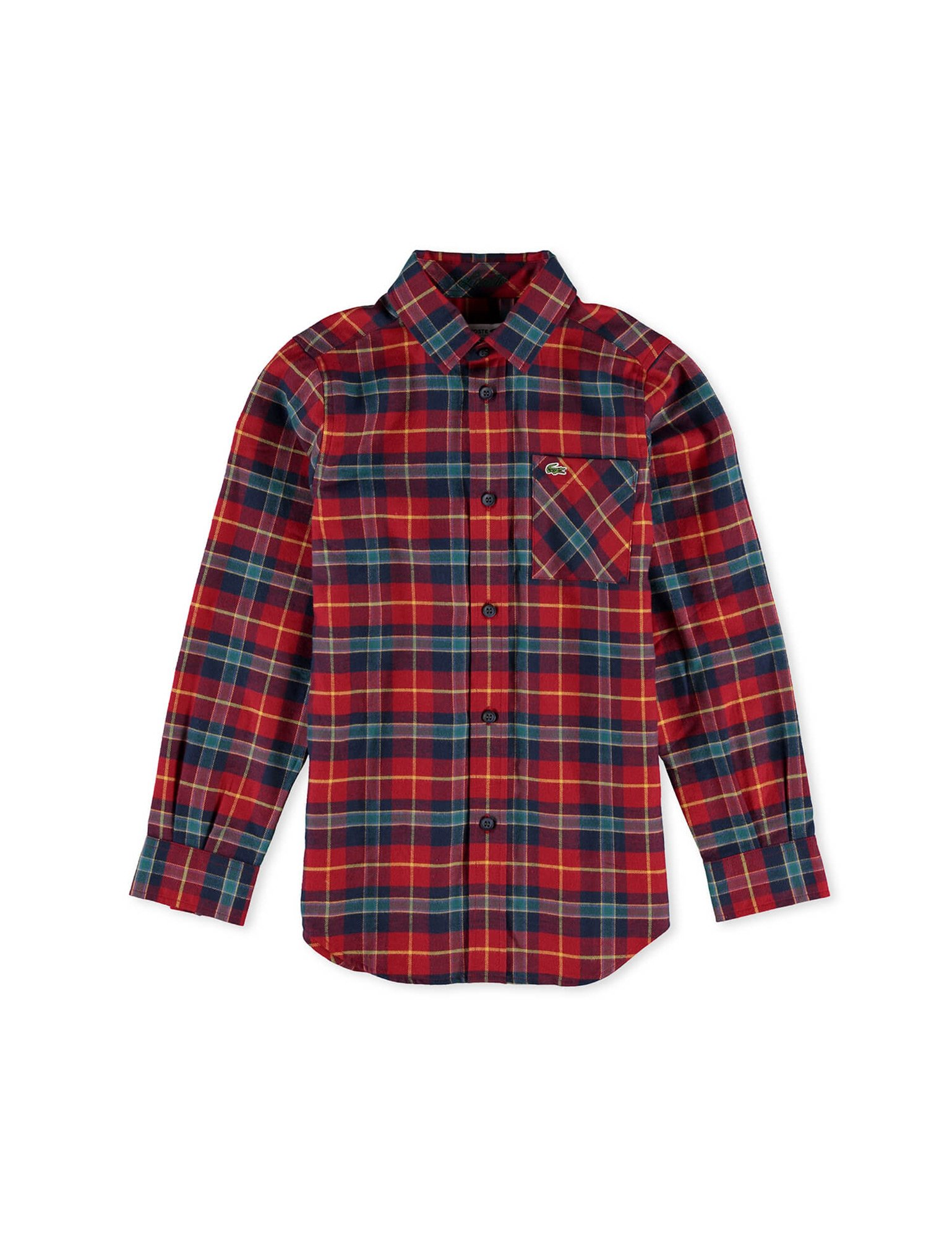 Lacoste Boy's Checked Long Sleeve Shirt in Size 16 Years (176 cm) Red by Lacoste
