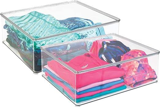 mDesign Juego de dos cajas para guardar ropa – Contenedores de ...