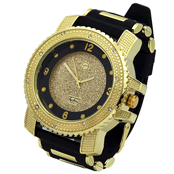 Amazon Totally Iced Out Cz Techno Pave Gold Tone Black Band