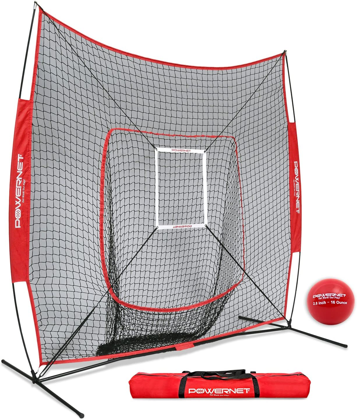 PowerNet DLX 7×7 Baseball Softball Hitting Net Weighted Heavy Ball Strike Zone Bundle Training Set Practice Equipment Batting Soft Toss Pitching Team Color Portable Backstop