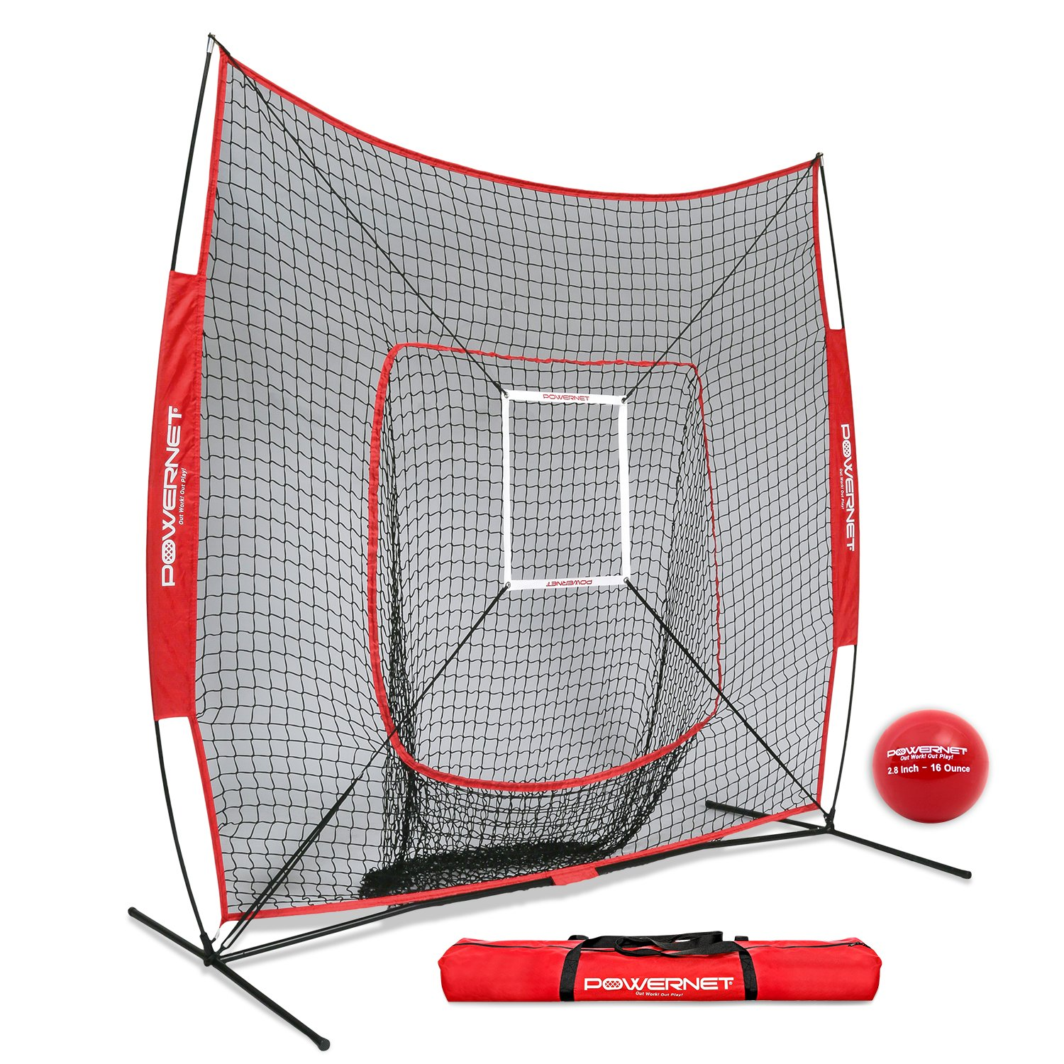 PowerNet DLX 7x7 Baseball Softball Hitting Net + Weighted Heavy Ball + Strike Zone Bundle (Red) | Training Set | Practice Equipment Batting Soft Toss Pitching | Team Color | Portable Backstop by PowerNet