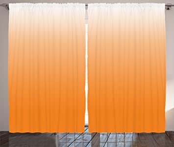 Ombre Curtains By Ambesonne, Sunset Inspired Orange Colored Modern Design  Art Print House Decorations,
