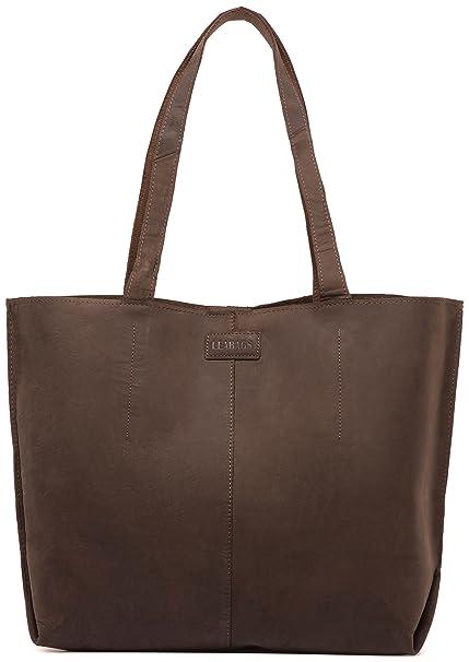 1d8e305d4 LEABAGS Honolulu Genuine Buffalo Leather Shopper Bag in Vintage Style -  Nutmeg