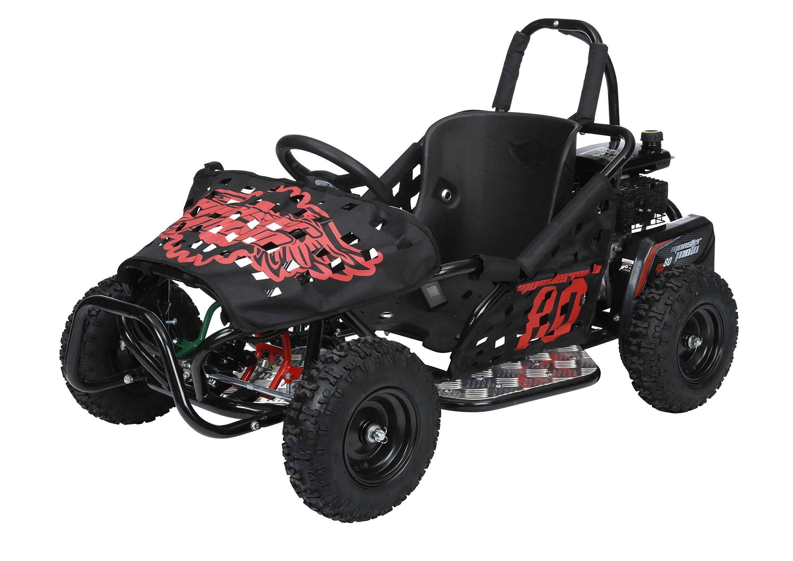 Monster Moto MM-K80-BR Black Frame with Red Graphics Go Kart by Monster Moto