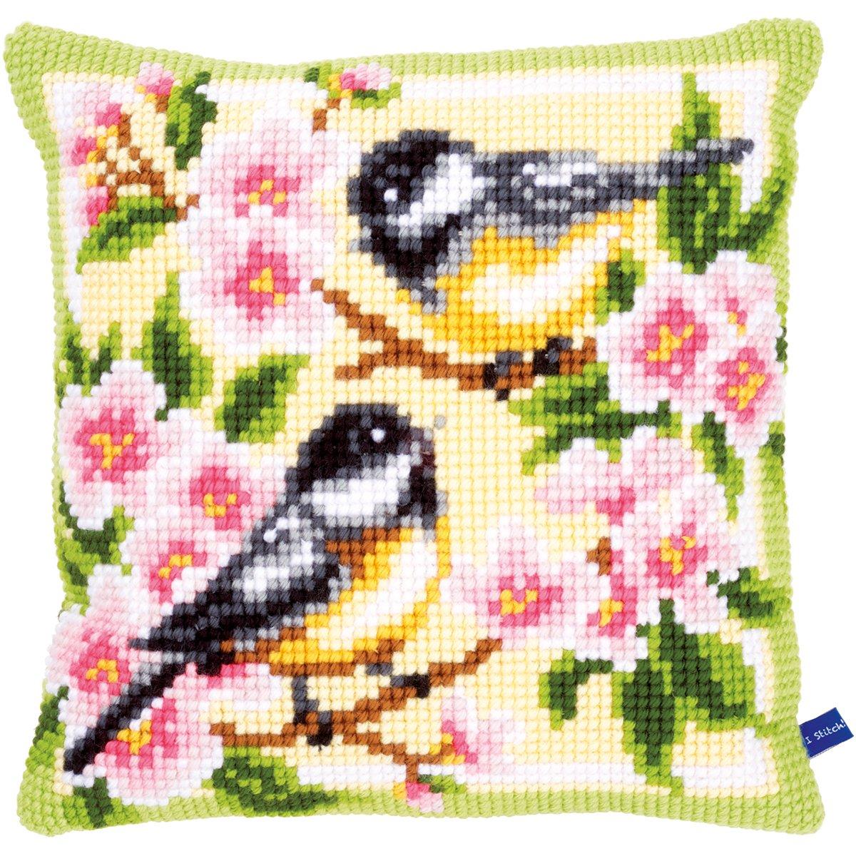 Amazon.com: Vervaco Birds and Blossoms Cushion Cross Stitch ...
