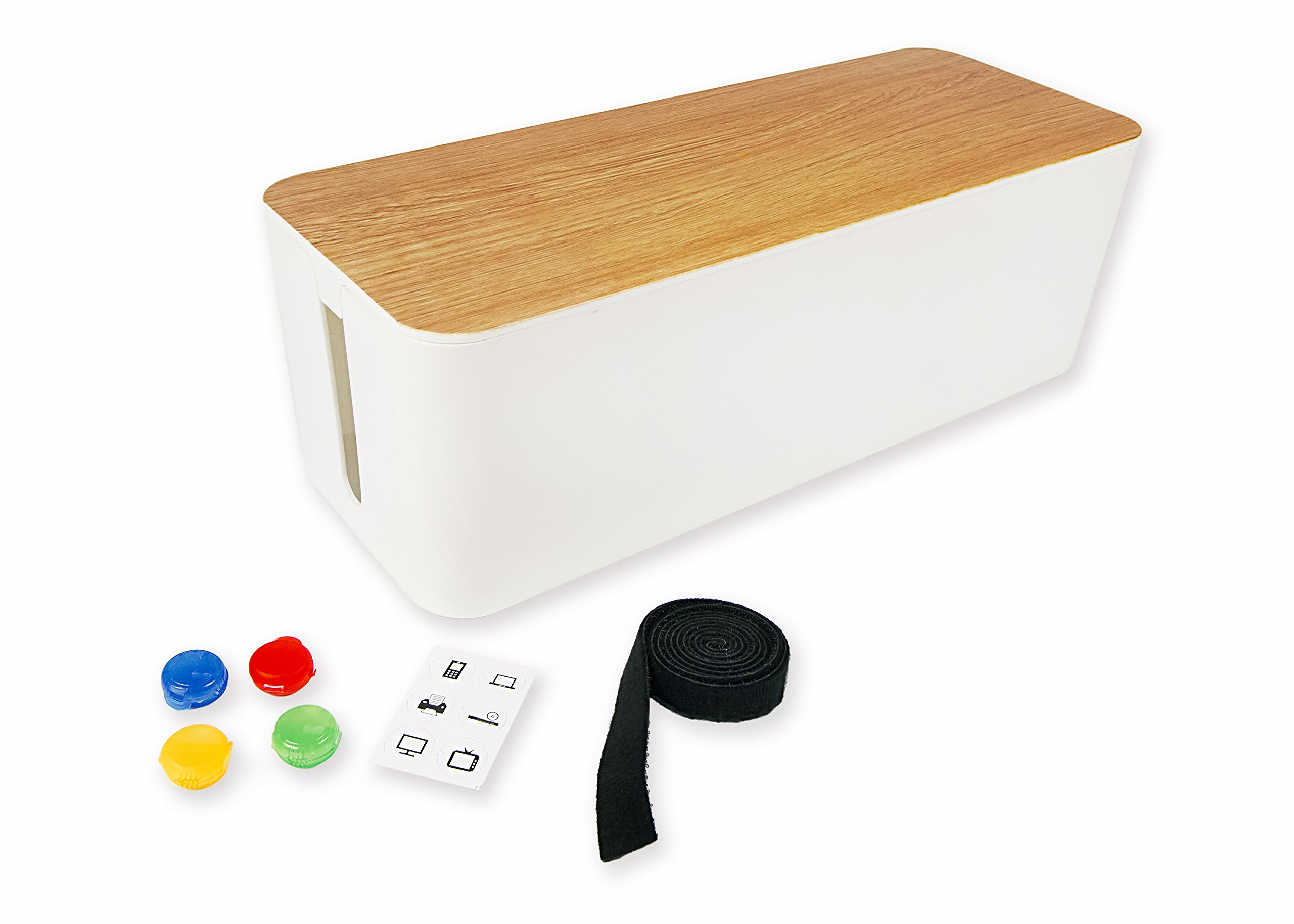 Summit Cable Management Box/Cord Organizer - White With Premium Wooden Style - Cord Hider For Plugs, Surge Protectors, TV Wires/Cables - Includes Unique Cable Tidy Plus Easy Clip Cable Organizer by SUMMIT BY WHITE MOUNTAIN