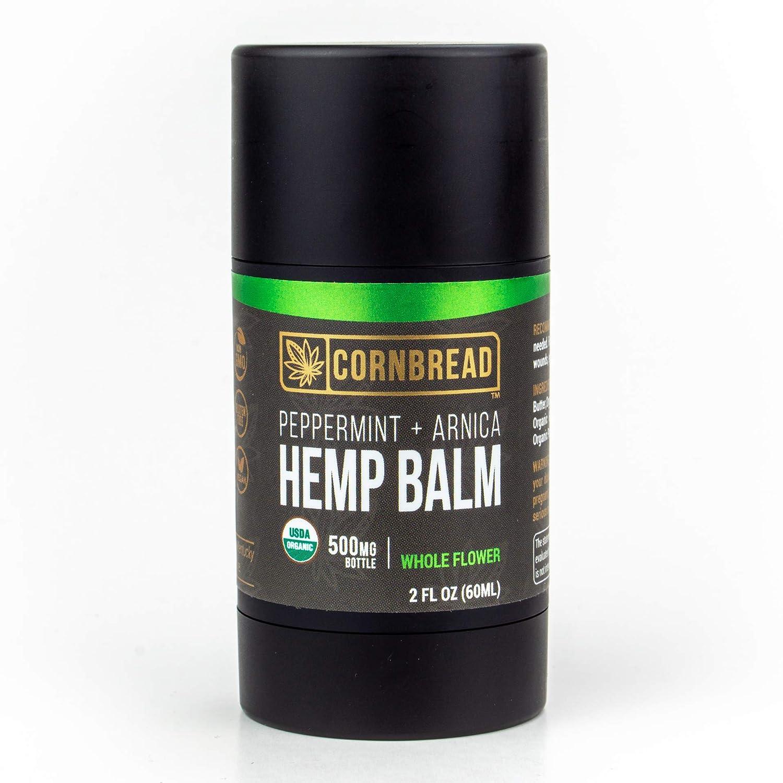 Organic Hemp Balm 500mg (2oz), USDA Certified Organic Hemp Oil + Arnica and Peppermint Oils for Muscles and Joints Roll On Hemp Cream, Made In USA by Cornbread Hemp