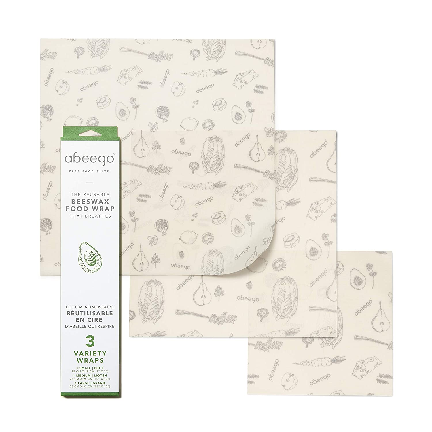 Abeego, The Original Beeswax Food Storage Wrap - Set of Three, 7 10 and 13 Natural Square Sheets
