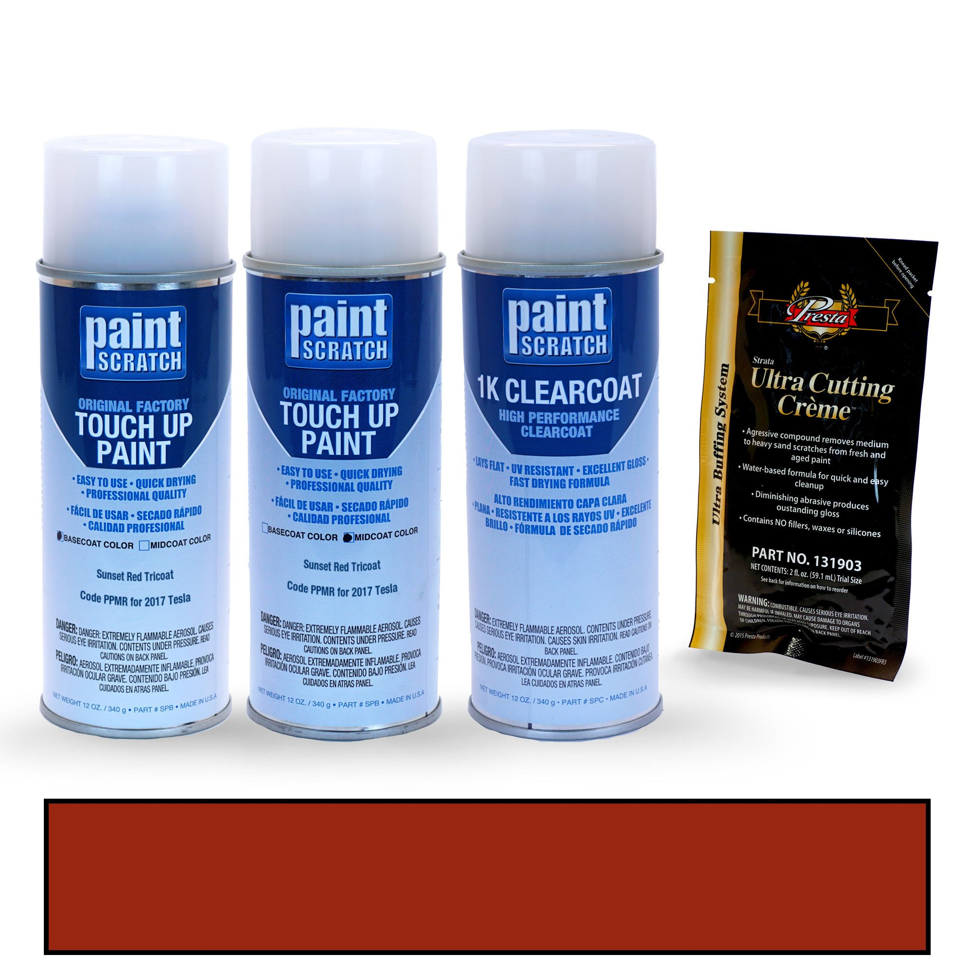 PAINTSCRATCH Sunset Red Tricoat PPMR for 2017 Tesla All Models - Touch Up Paint Spray Can Kit - Original Factory OEM Automotive Paint - Color Match Guaranteed