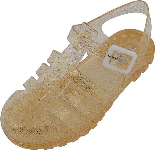 Sandalias brillantes para niños, niñas, chicas, calzado de verano para jardín, playa, vacaciones, sandalias con purpurina, estilo cangrejeras.